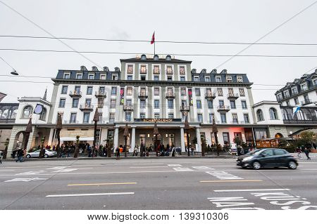Lucerne Switzerland, 30 November 2014 : Lucerne, a compact city in central Switzerland, sits amid snowcapped mountains on the north end of Lake Lucerne. With its colorful Altstadt (Old Town) and 14th-century Museggmauer city walls, covered bridges includi