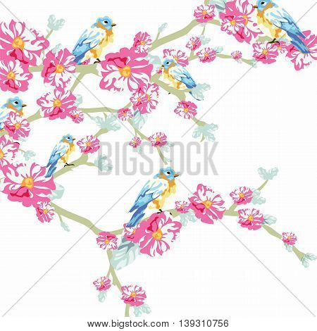 Vector illustration blooming tree and pigeons in watercolor technique. Beautiful Spring Time flower and birds design for backgrounds cards etc