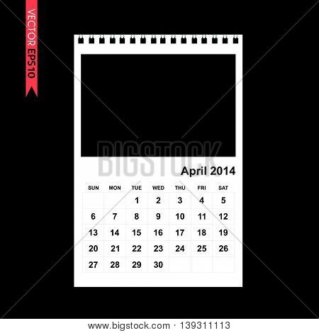 April 2014 calendar vector on black color background