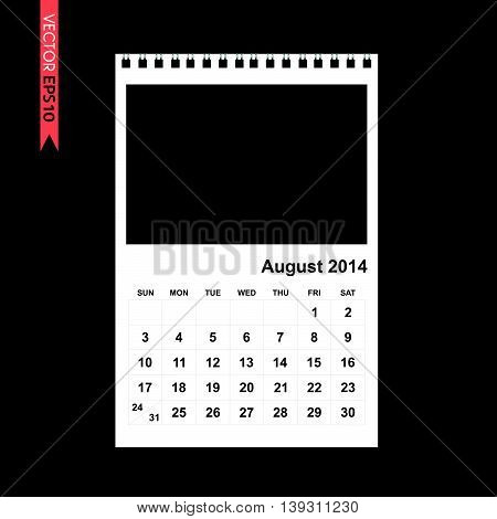 August 2014 calendar vector on black color background