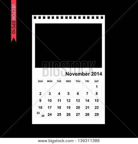 November 2014 calendar vector on black color background