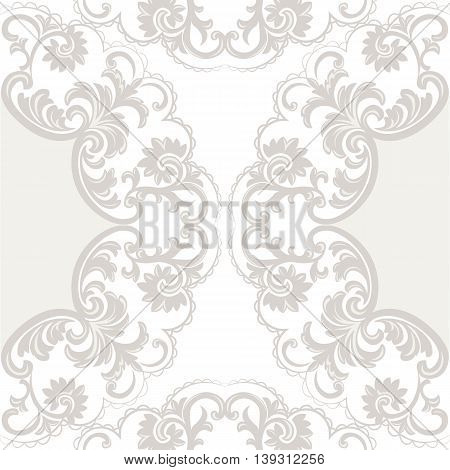 Vector Lace Card with crochet floral ornament. Delicate lace design card for wedding ceremonies anniversary party events. Taupe color