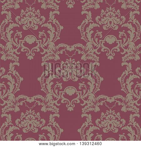 Vector floral damask baroque ornament pattern element. Elegant luxury texture for textile fabrics or backgrounds. Red color