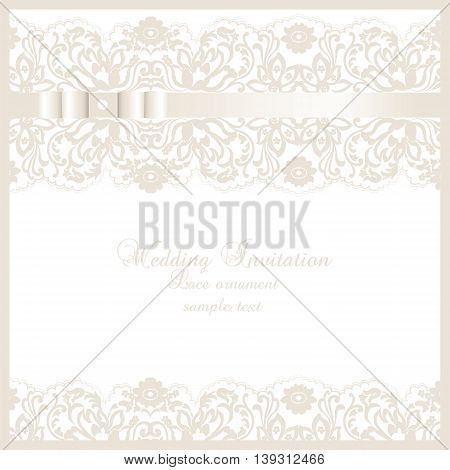 Vector Wedding Invitation card with lace floral ornament. Delicate lace design card with bow. Cream beige gold color