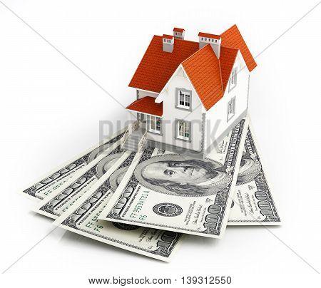American dollar banknotes under house. 3d illustration.
