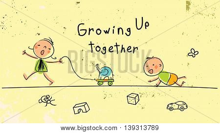 Growing up conceptual vector illustration. Kids playing together, doodle style hand drawn sketchy drawing.