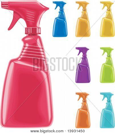 Vector sprayer bottles in 8 colors