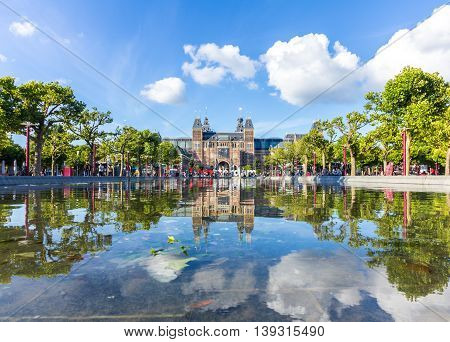 Amsterdam the Netherlands - April 13 2016: Rijksmuseum in Amsterdam