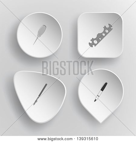 4 images: awl, cycle spanner, ruling pen, ink. Angularly set. White concave buttons on gray background. Vector icons.