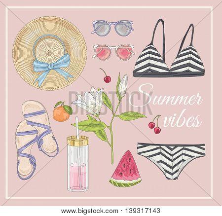 Summer fashion vector accessories set. summer background