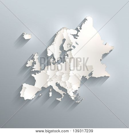 Europe political map 3D raster individual states separate
