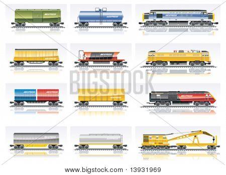 Vector railroad transportation icon set. Part 1