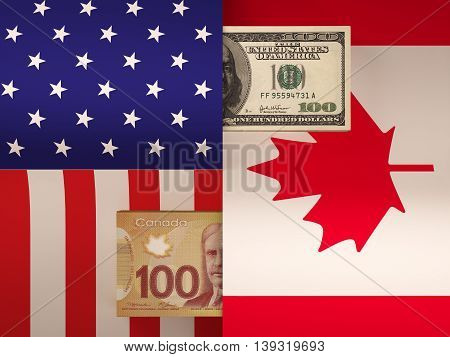 Money transfer between United States and Canada. 3d rendering.