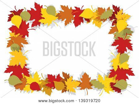 Beautiful autumn leaves frame with yellow and red leaves. Place for your image or text. Vector available.