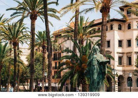 Palma de Mallorca Spain - May 27 2016: Monument of Ramon Llull. Statue of philosopher in Palma de Mallorca on Paseo de Sagrera
