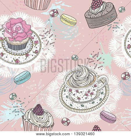 Seamless pattern with cupcakes tea and macaroons. Cute vector background.