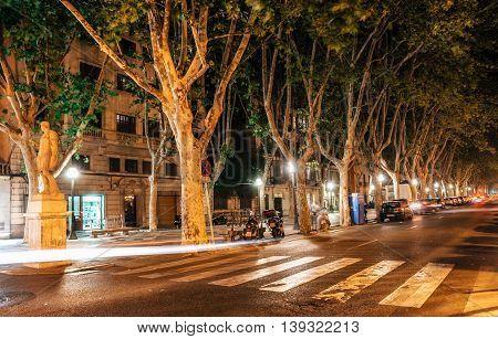 Palma de Mallorca Spain - May 29 2016: Night view of La Rambla street at the heart of Palma de Mallorca Spain