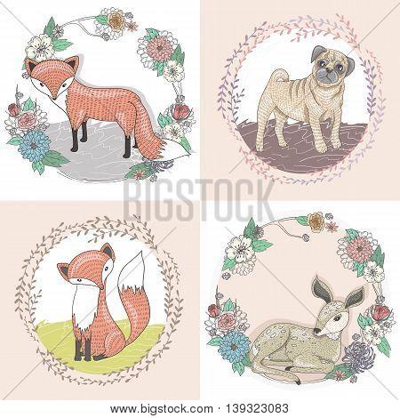 Cute little fox deer and pug illustration set in floral frames.