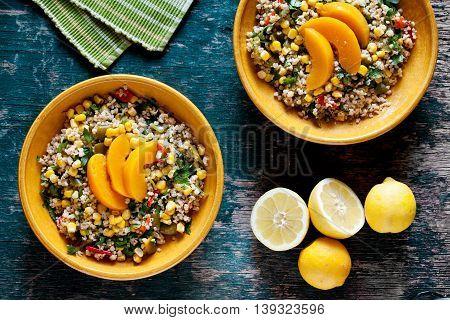 Plates Of Bulgur And Vegetables Salad