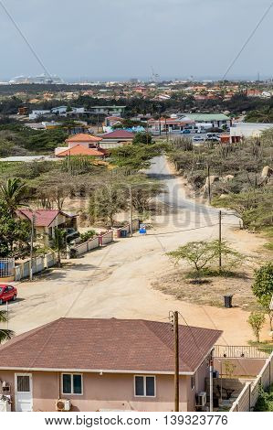 Colorful houses on the arid yet tropical island of Aruba