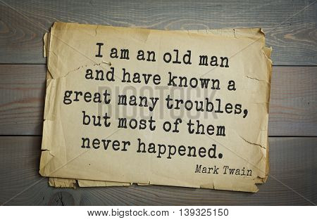 American writer Mark Twain (1835-1910) quote.