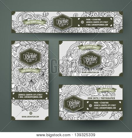 Corporate Identity vector templates set design with doodles hand drawn picnic theme. Line art banner, id cards, flayer design. Templates set