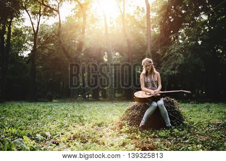 Depressed girl filling void after breakup in nature