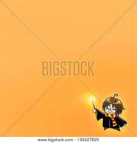 Cartoon boy in wizard costume anime manga chibi kawaii background