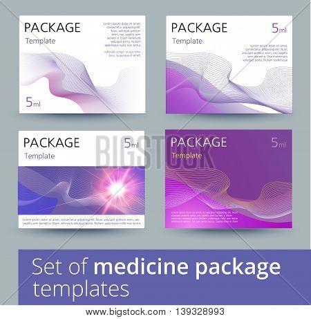 Set of medicine package templates. Vector illustration.