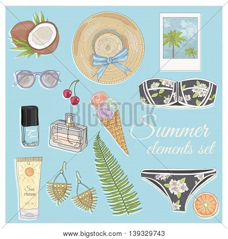 Summer fashion vector accessories set. Background with sunglasses jewelery makeup swimsuit cherry flowers and palm trees