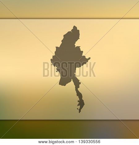 Myanmar map on blurred background. Blurred background with silhouette of Myanmar. Myanmar. Myanmar map. Burma map.