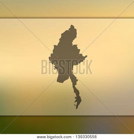Myanmar map on blurred background. Blurred background with silhouette of Myanmar. Myanmar. Myanmar map. Burma map.