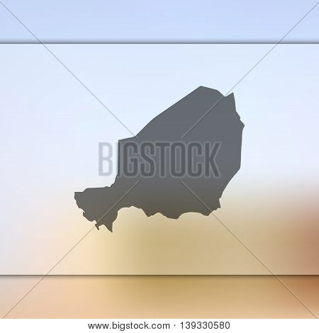 Niger map on blurred background. Blurred background with silhouette of Niger. Niger. Niger map.
