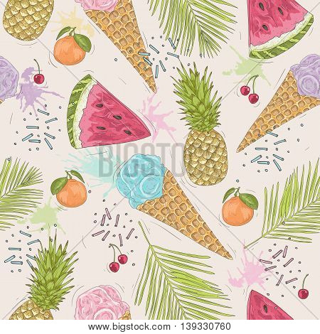 Cute seamless pattern with ice creams pineapples. Vector background with sweets and fruit.