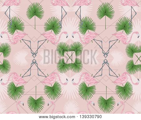 Cute hipster seamless pattern with flamingos and palm. Vector background with birds.