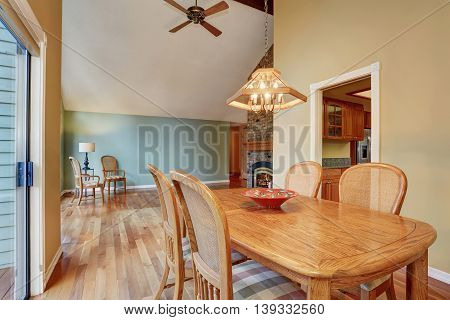 Dining Area With Table Set, Hardwood Floor
