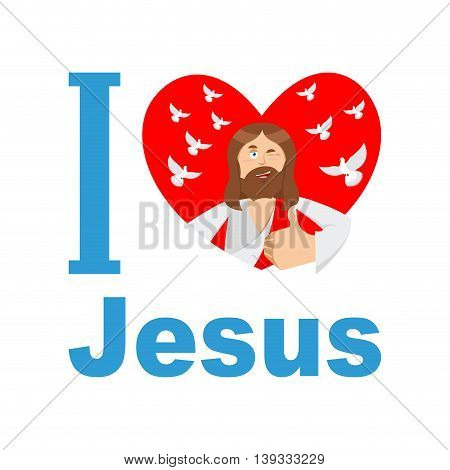 I Love Jesus. Symbol Of Heart And Son Of God. Biblical Characters. Holy Man. Religious Sign For Beli