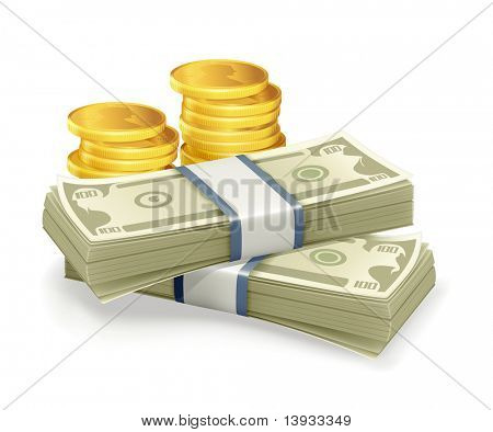Paper Currency and coins, vector