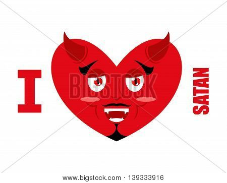 I love Satan. Symbol of heart and devil with horns. Red Demon. Prince of darkness and underworld. Lucifer Boss. Religious and mythological character supreme spirit of evil. Diablo Lord of Hell.