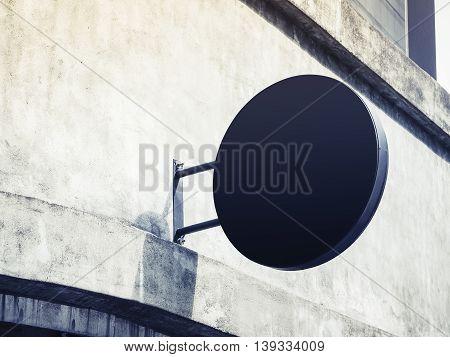 Signboard shop Mock up Circle shape Blank Signage display on wall