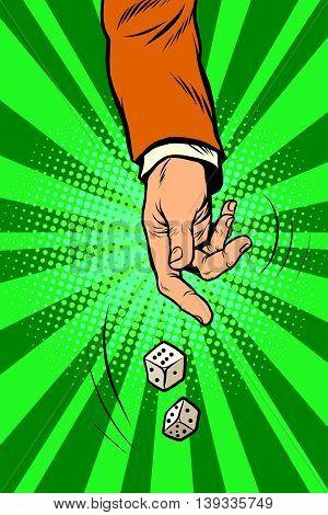 Throw the dice, game randomness lottery pop art retro vector. Casino