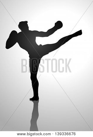 Silhouette illustration of a kick boxer on light background