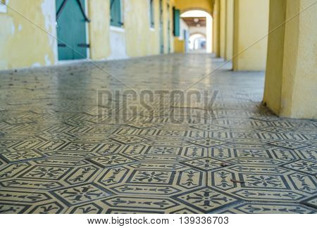 Tiled walkway architectural detail in Frederiksted, St. Croix, US Virgin Islands.