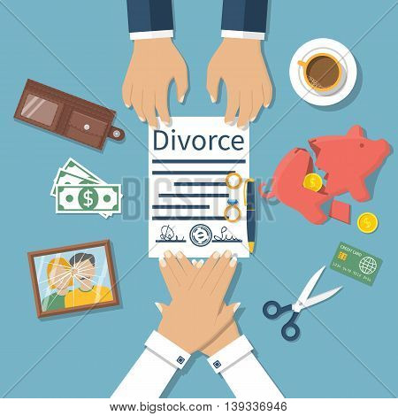 Divorce concept. Meeting of husband and wife to sign agreement divorce papers. Property division. Vector illustration of a flat design. Form is signed with stamp.