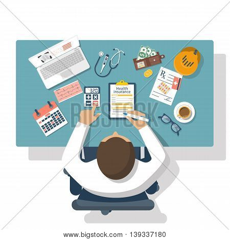 Man at table fills in the form of health insurance. Healthcare concept. Vector illustration flat design style. Life planning. Claim form. Medical equipment money prescription medications.