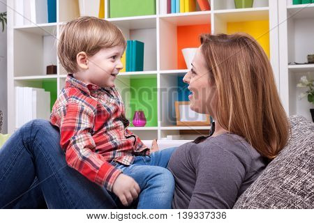 Mother and child singing a song, family concept