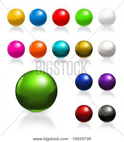 Balls icon set, vector