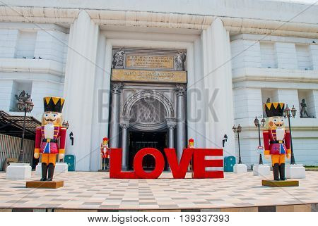 Letters Of Love Are In The Building. The Statue Of The Nutcracker. Thailand. Chiangmai.