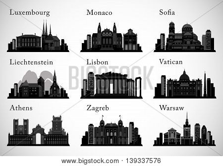 European Cities skylines set. Vector silhouettes. Modern and historical architecture, landmarks of european cities
