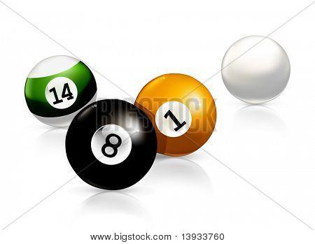 Billiard balls, vector illustration